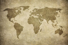 Grunge map of the world. Vintage map of the world Royalty Free Stock Images