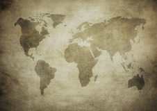 Grunge map of the world Stock Images