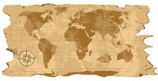 Grunge, mapa de mundo rústico Fotos de Stock Royalty Free