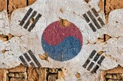 Grunge Markierungsfahne von Südkorea Lizenzfreie Stockfotos