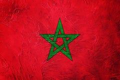 Grunge Maroko flaga Maroko flaga z grunge teksturą Obrazy Stock