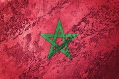 Grunge Maroko flaga Maroko flaga z grunge teksturą Zdjęcia Stock