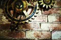 Grunge Mechanic Gears on Wall Royalty Free Stock Photo