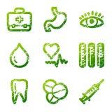 Grunge medicine contour icons Stock Image