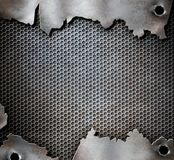 Grunge metal background with bullet holes stock photo