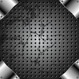 Grunge metal background with grid Stock Images
