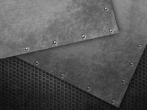 Grunge metal background on mesh Stock Images