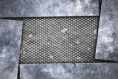 Grunge metal background. metal plate on black grille. Material design 3d illustration vector illustration