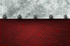 Grunge metal background. metal plate on black grille and red pla. Te with rivet. material design 3d illustration Stock Photos