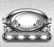 Grunge metal background with oval frame Stock Photo