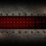 Grunge metal background and red diamond plate Stock Photography