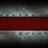 Grunge metal background and red mesh. Grunge metal and red mesh. 3d illustration. background and texture Stock Image