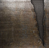 Grunge metal background with ripped hole Stock Photo