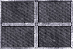 Grunge metal background. rivet on metal plate. Grunge metal background. rivet on metal plate with black grille. material design 3d illustration Royalty Free Stock Photography