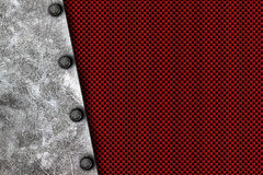 Grunge metal background. rivet on white metal plate. And red carbon fiber. material design 3d illustration Stock Photography