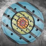 Grunge metal background. Scratched grunge metal background with circle surfaces. 3d render stock illustration