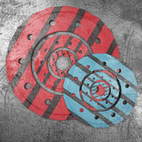 Grunge metal background. Scratched grunge metal background with circle surfaces. 3d render royalty free illustration