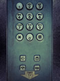 Grunge metal button phone. Background texture Royalty Free Stock Photography