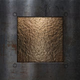 Grunge metal frame on chrome. Gold chrome metal textured background with a grunge metallic frame Royalty Free Stock Photos