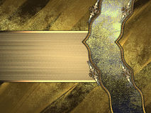 Grunge metal gold background with elegant ribbon Royalty Free Stock Photos