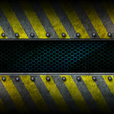 Grunge metal and green mesh with yellow painted. 3d illustration Royalty Free Stock Photos