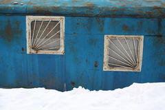Grunge metal house and snow. Stock Images