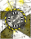Grunge metal hull. Complex metallic background with a circular design white painted metal overlay revealing underlying machine patterns Stock Image