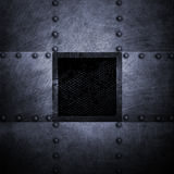 Grunge metal plate and grid window. 3d illustration. Royalty Free Stock Photos