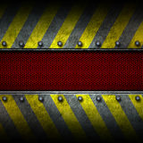 Grunge metal and red mesh with yellow painted. safey zone. Grunge metal and red mesh with yellow painted. safety zone. 3d illustration. background and texture Royalty Free Stock Image