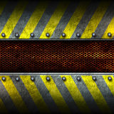 Grunge metal and rust mesh with yellow painted. 3d illustration. Royalty Free Stock Images