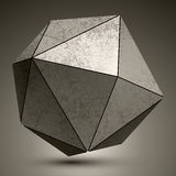Grunge metallic3d spherical object created from triangles, futur Royalty Free Stock Images