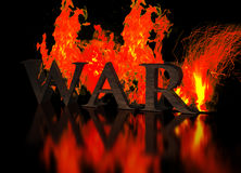 Grunge Metallic Letters write WAR in Flames. At dark background Stock Photography