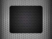 Grunge metallic mesh background with black panel Royalty Free Stock Photos