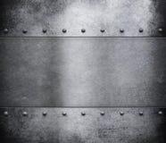 Grunge metalu tło z nitami Obrazy Royalty Free