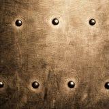 Grunge metalu złocisty brown talerz nituje śruby tła teksturę zdjęcia royalty free