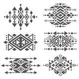 Grunge mexican aztec tribal traditional vector logo design isolated on white background. Aztec tribal traditional elements, navajo and african frame tattoo stock illustration