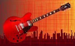 Grunge miasta gitara Obrazy Stock