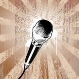 Grunge Microphone. Microphone on textured background. Separated elements Stock Photos