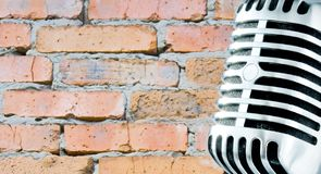 Grunge Mike (Design Element). Retro Mic Against Brick Wall Royalty Free Stock Photos