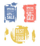 Grunge modern sale stickers. Flat modern sale labels. Best shopping tour. Special discount 50 off sale. Royalty Free Stock Photography
