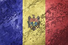 Grunge Moldova flaga Moldova flaga z grunge teksturą Fotografia Stock