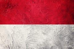 Grunge Monaco flaga Monaco flaga z grunge teksturą Zdjęcia Royalty Free