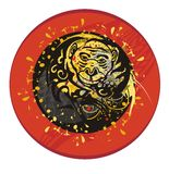 Grunge monkey circle. Year of a fiery monkey. A monkey with a coin and floral elements in a red circle Stock Images