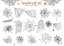 Grunge monochrome set of spider web and spiders  on white background for halloween design. Hand drawn decoration Stock Photo