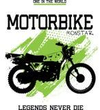 Grunge monstar del modelo del diseño de la moto stock de ilustración