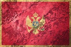 Grunge Montenegro flaga Montenegro flaga z grunge teksturą Obraz Stock