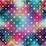 Grunge mosaic on blur background and doodles dots. Stock Photos