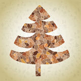 Grunge Mosaic Christmas Tree Greeting Card Royalty Free Stock Images