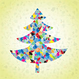 Grunge Mosaic Christmas Tree Greeting Card. Made of small mosaic pieces in pop-art colors, on gradient background. Illustration is in eps10  mode Royalty Free Stock Photos