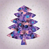 Grunge Mosaic Christmas Tree Greeting Card Royalty Free Stock Photos